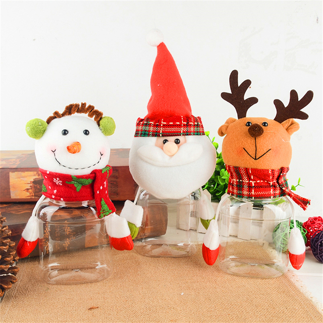 3pcs\/lot Creative Furnishing Articles Gift Candy Jar Transparent - plastic christmas decorations