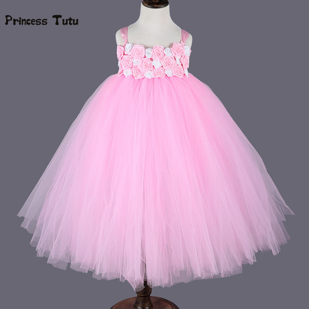Rose Flower Girl Dresses White Pink Wedding Ball Gown Princess Tutu Dress Kids Girls Birthday Pageant Party Tulle Dress Costumes new 2016 fshion flower girl dress kids clothing party wedding birthday girls dresses baby girl white pink rose dress