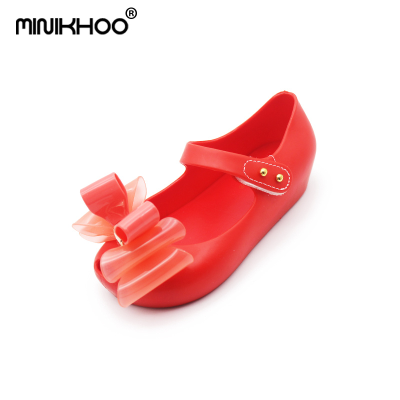 Mini Melissa 3 Color Three Layers Bow Girls Jelly Sandals 2018 New Baby Beach Sandals Non-slip Melissa Jelly Shoes 15cm-18.5cm