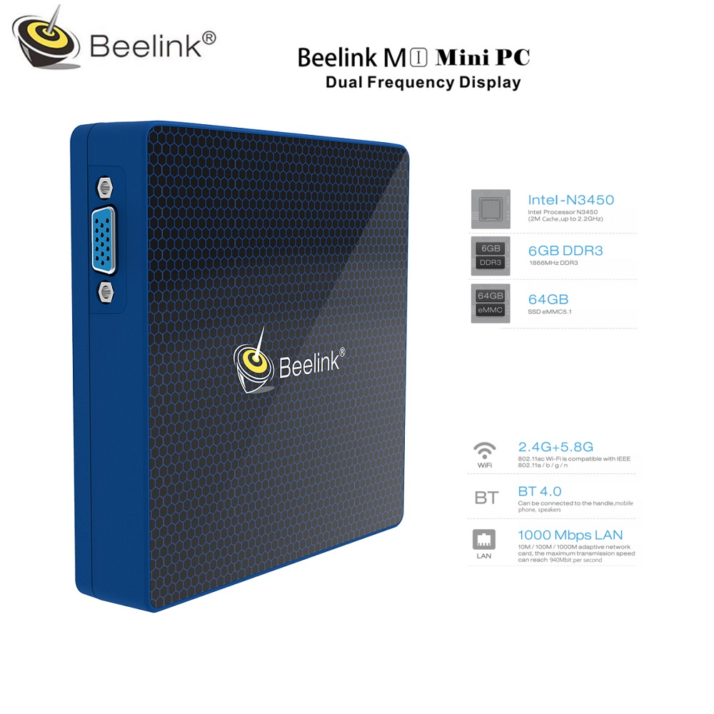Beelink M1 Mini PC Intel Celeron N3450 6GB RAM 64GB ROM BT4.0 Set-top Box WiFi Media Player Dual Frequency Display beelink s ii intel gemini lake mini pc w10 4gb ram ddr4 64gb rom set top tv box 5g wifi bluetooth4 0 1000m media player