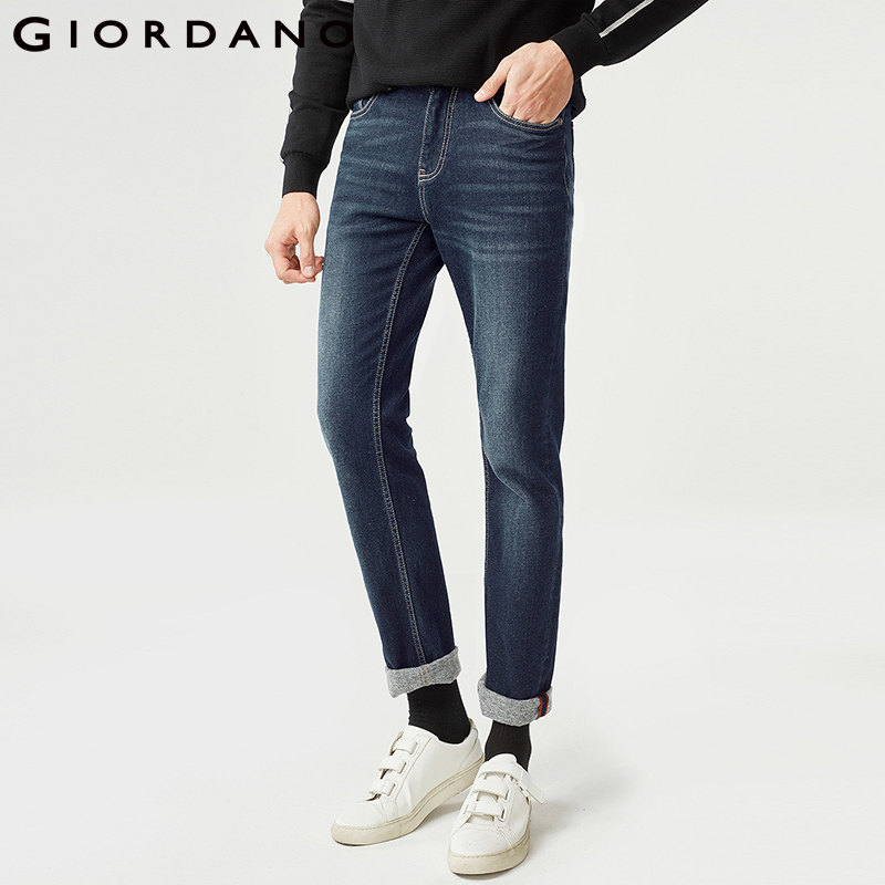 Giordano Men Denim   Jeans   Men Stretchy Fleece Lining Whiskered Denim   Jeans   Men Mid Rise Zip Placket   Jeans   Homme Five Pockets