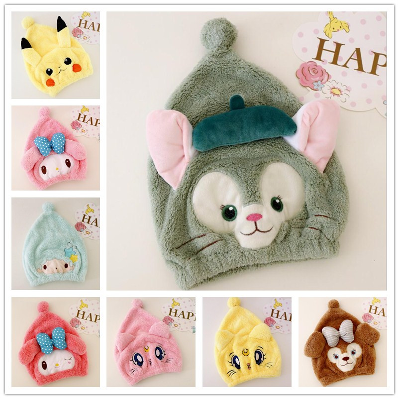 new Plush toy cartoon animal hair cap, strong absorptive dry long velvet ultra soft baby special dry hair cap, towels
