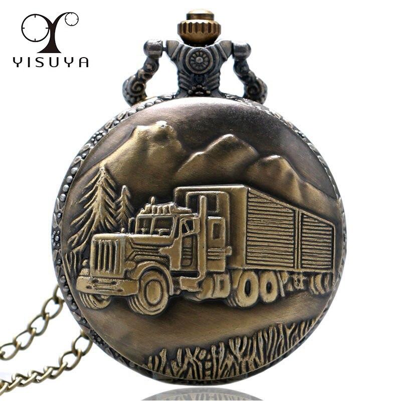 Hot Sale New Fashion Silver/Bronze Car Truck Lorry Full Hunter Quartz Pocket Watch With Necklace Chain For Men Reloj De Bolsillo