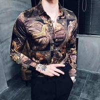 New Fashion Brand Men Shirt Luxury Gold Printed Shirt Slim Fit Male Camisa Xadrez Masculina Trend Long Sleeve Dress Shirts Men