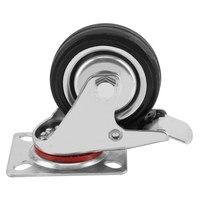 New Style 4x75mm New Heavy Duty Rubber Swivel Castor Wheels Brake Trolley Furniture Caster