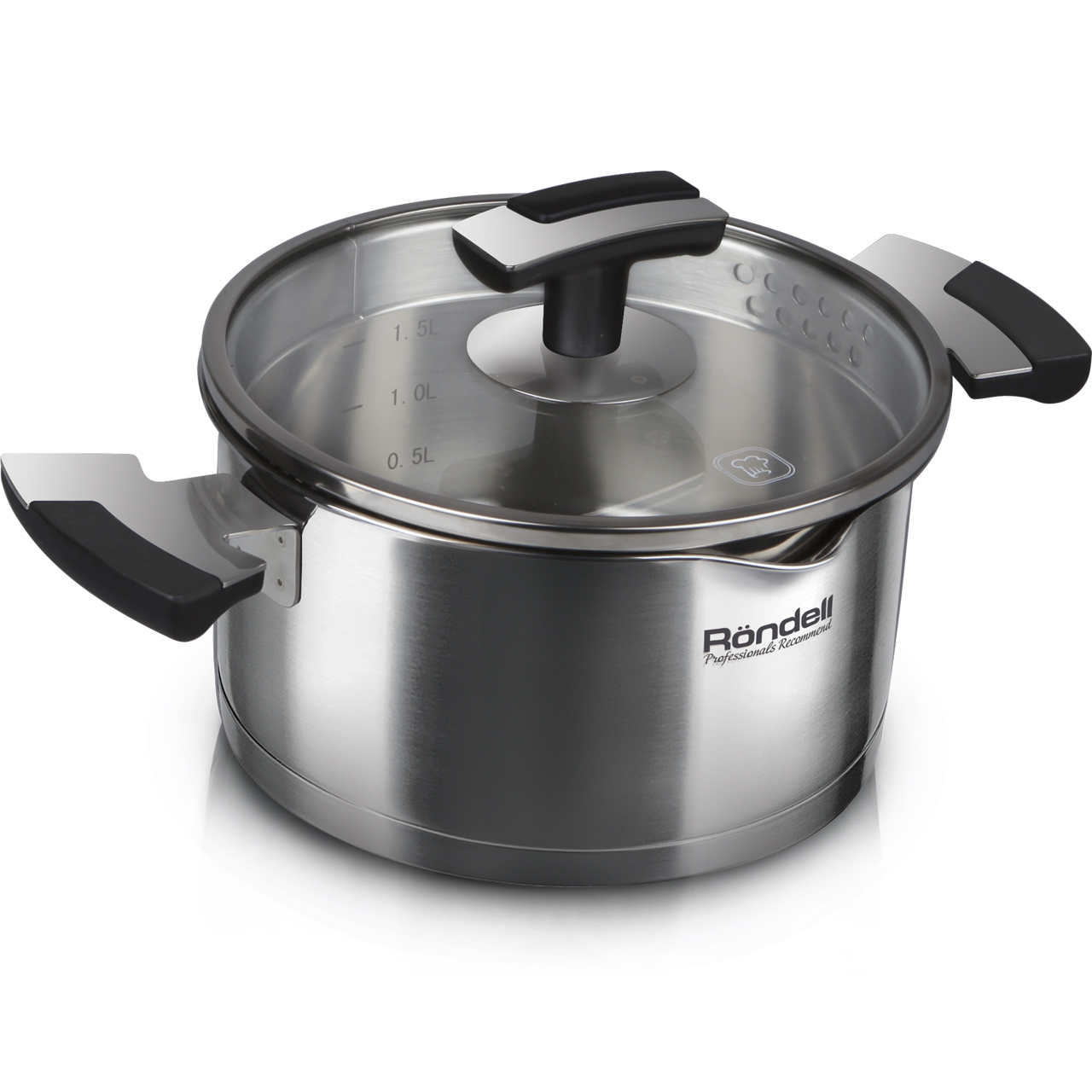 Фото - Saucepan with lid Rondell Eskell RDS-723 (Diameter 24 cm, Volume 6.2 L stainless steel, suitable for all types of plates) saucepan with lid eurostek es 1007 volume 4 5 liter diameter 22 cm пятислойное bottom suitable for all types of plates