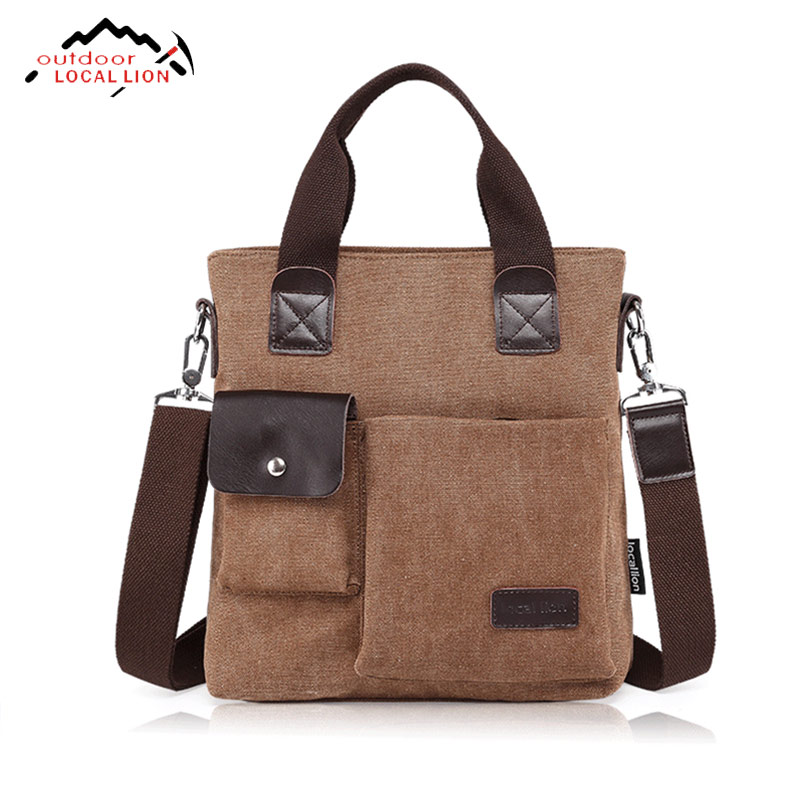 Local Lion Classic Vintage Messenger Bag Men Canvas Shoulder Crossbody Sport Bags Good Quality Traveling Outdoor Activities Bags