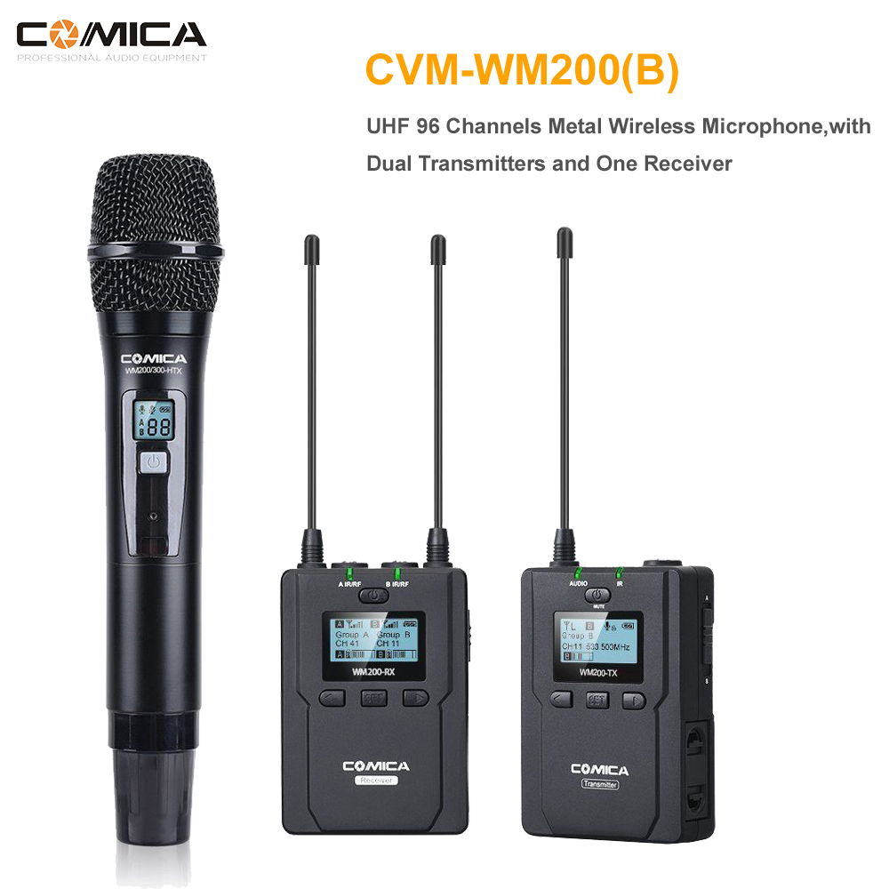 COMICA CVM WM200B Metal UHF Wireless Mono/Stereo Lavalier Interview LCD IR Handheld Microphone for DSLR Camera Camcorder Video
