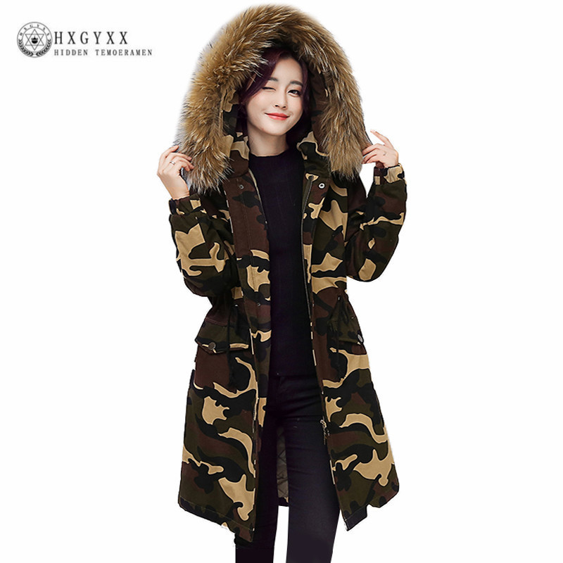 2017 Camouflage Winter Jacket Women Coat Slim Warm Long Parka Raccoon Fur Collar Hooded Outerwear Female Down Jacket Okb395 women elegant winter warm long coat down padded jacket slim fur collar hooded parka coats 2017 female slim long parka with belt