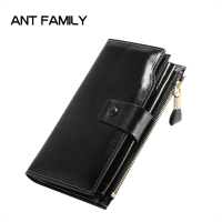 New Women Fashion Genuine Leather RFID Blocking Functional Wallet Vintage Long Glint Card Holder Zipper Coin Purse Iphone Galaxy