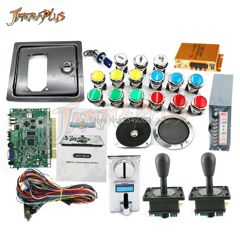 Arcade cabinet game kit 2020 in 1 Multigame PCB Board with happy joystick LED Buttons Power