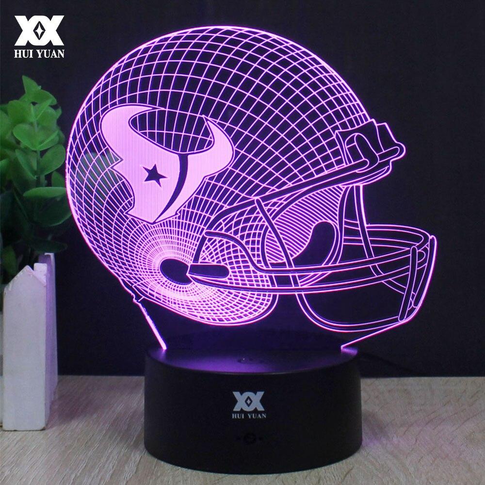 Houston Texans Rugby helmet 3D Lamp LED Decorative Table Lamp USB Novelty Night Lights Child s