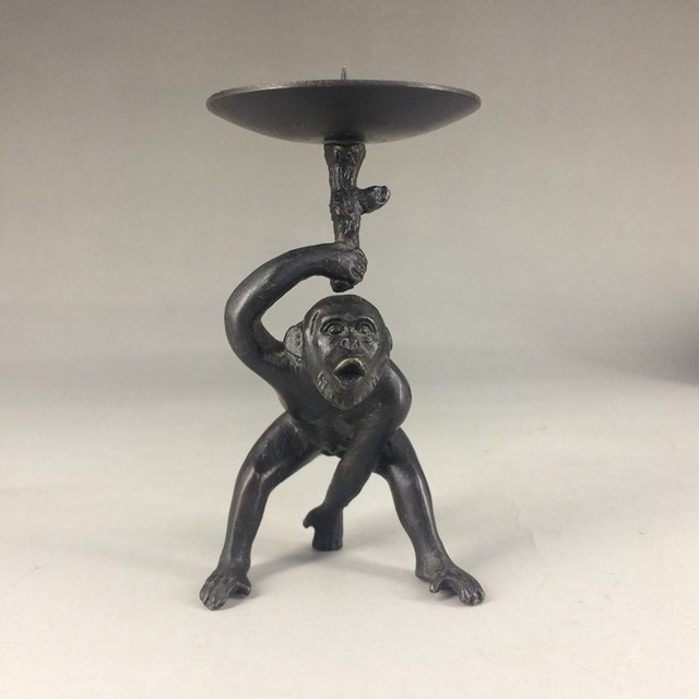 Unique Chinese copper Handwork carved monkey CandlesticK title=