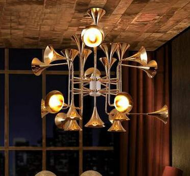 post-modern 12/16 heads horn rust iron pendent lamp for dining room hotel hall villa creative bar pendent lights A55 wheat breeding for rust resistance