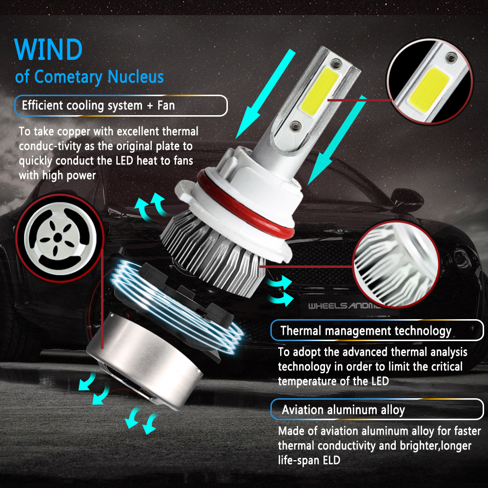 Image 5 - 2pcs Car Lights Bulbs LED H4 H7 9003 HB2 H11 LED H1 H3 H8 H9 880 9005 9006 H13 9004 9007 Auto C6 Headlights 6000K Led Light-in Car Headlight Bulbs(LED) from Automobiles & Motorcycles