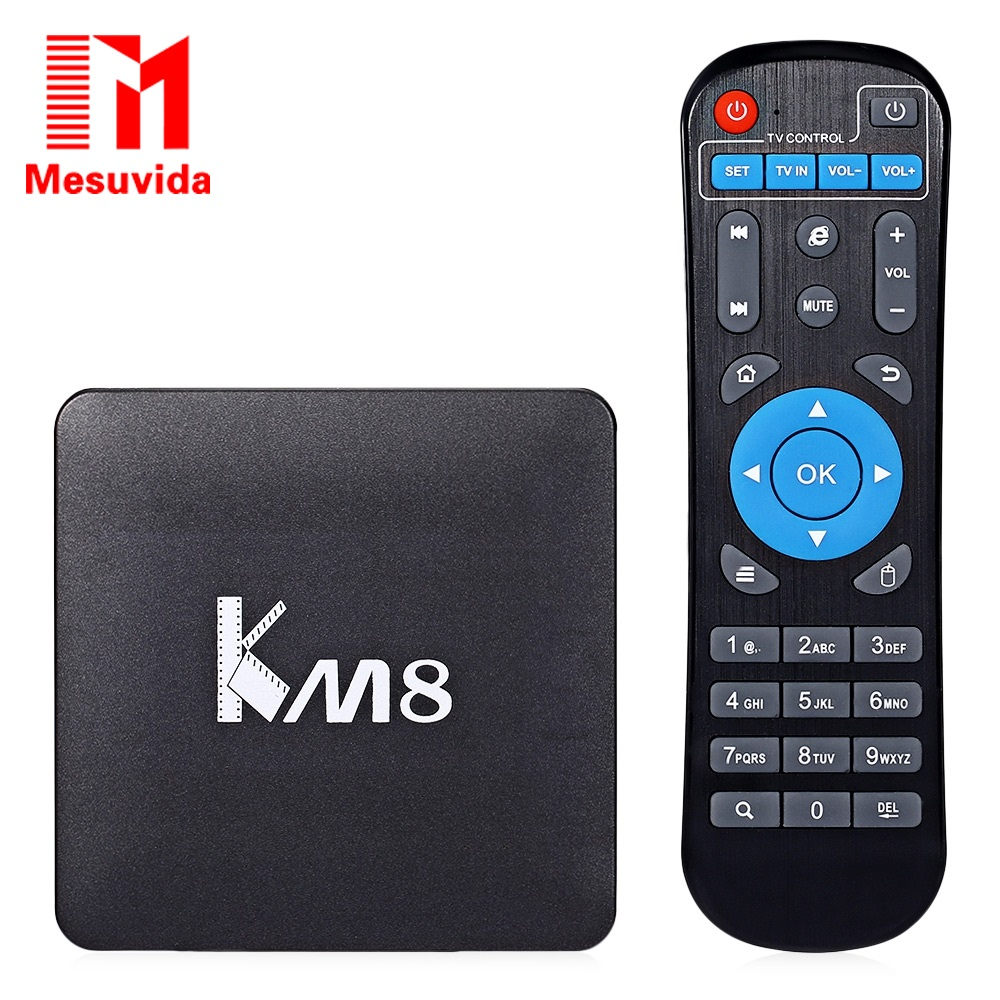 ФОТО Mesuvida KM8 TV Box Amlogic S905X Quad Core 4K H.265 VP9 Decoding Dual Band WiFi Android Media Player Set top Box Tv TVBox