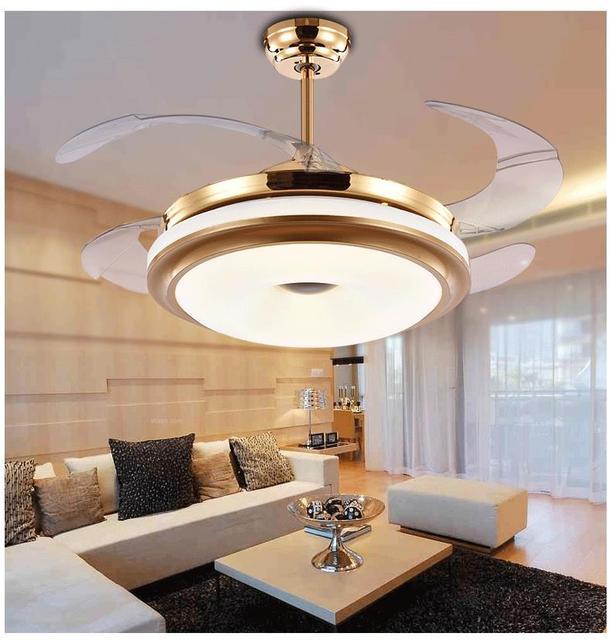 Deckenventilator FÜHRTE Unsichtbare Fan Lampe Mit Teleskop Modernen  Minimalistischen Schlafzimmer Wohnzimmer Esszimmer Licht Fernbedienung ZA  FS8