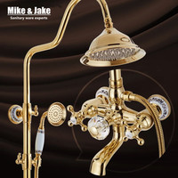 Bathroom golden shower set with crystal handle luxury bathtub shower mixer set with soap holder gold Bath Shower Faucet set