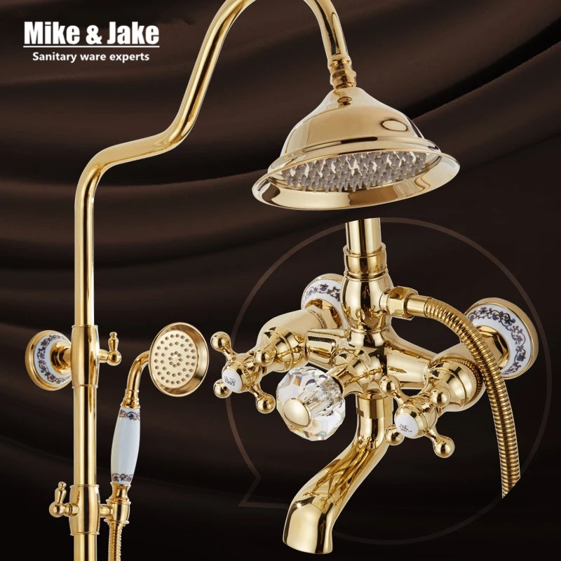 Bathroom Golden Shower Set With Crystal Handle Luxury