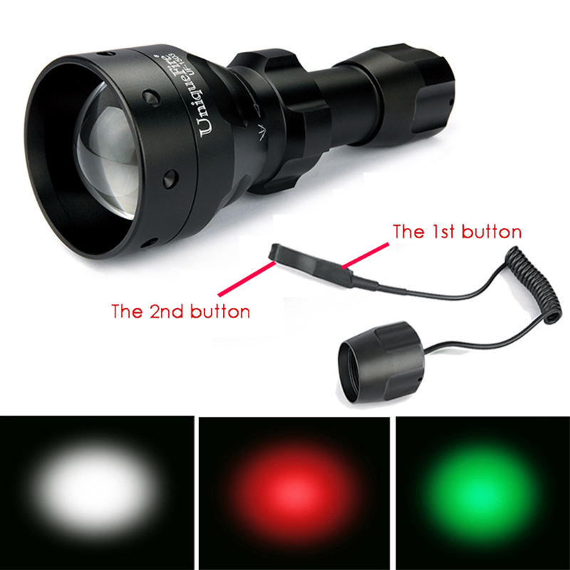 UniqueFire Flaslight 3 Modes 1503-XPE Strong Light 50mm Convex Lens Flashlight Torch+2 Modes Pressure Switch For Remote Control uniquefire 1405 xpe green red white light led flashlight portable zoomable torch remote pressure to remote control lamp