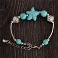 0128 Hot Charm Beads Fashion Jewelry Vintage Hollow Out Handmade Petals Tibetan Silver Turquoise Bracelet Free Shipping