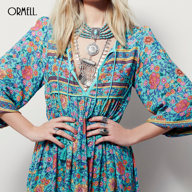 ORMELL Women Deep V-Neck Sexy Flower Halter Dress Vintage Flare Sleeve Loose Streetwear European Fashion Casual Retro Dress