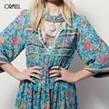 ORMELL Women Deep V-Neck Sexy Flower Halter Dress Vintage Flare Sleeve Loose Streetwear European Fashion Casual Retro Dress