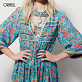 Ormell mulheres profundo decote em v sexy flor halter dress manga flare solto streetwear do vintage europeia moda retro casual dress