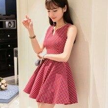 Summer Dress Sleeveless 2016 New Fashion Cute Red / Black Ladies Mini Dresses JN309