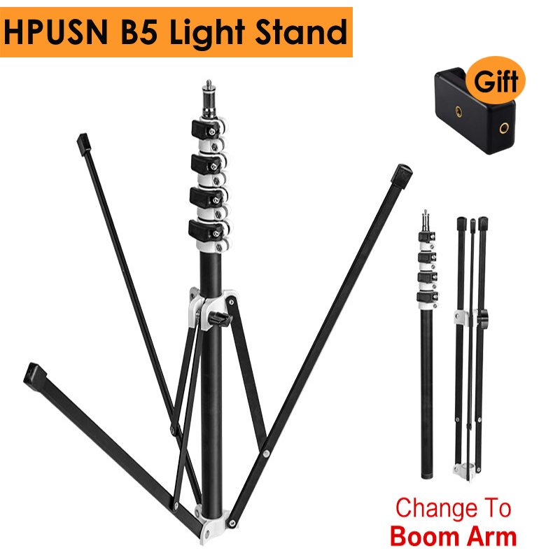 HPUSN B5 Collapsible 210cm Light Stand 6.9ft Metal Portable Foldable Tripod 5 Section Boom Arm For Studio Flash Light Load 3KG