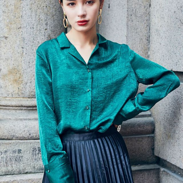 2017 New Autumn Women's Shirt Phoenix Embroidery Long Sleeve Shirts Satin Blouse Green Elelgant Blusa Ladies Tops Blouses Femme