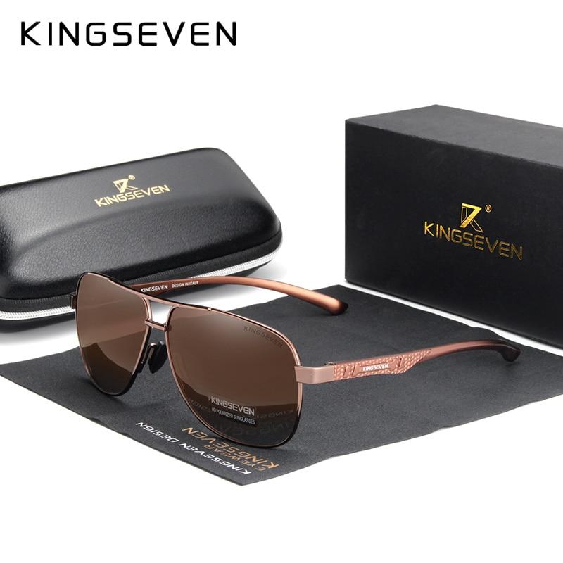 KINGSEVEN 2020 Brand Men Aluminum Sunglasses Polarized UV400 Mirror Male Sun Glasses Women For Men Oculos de sol 10
