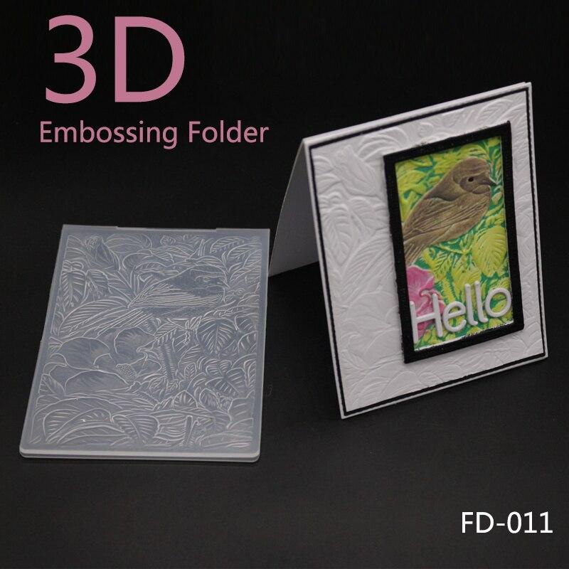 ZhuoAng Beautiful Birds And Flowers Embossing Folder for Scrapbook DIY Album Card Tool Plastic Template