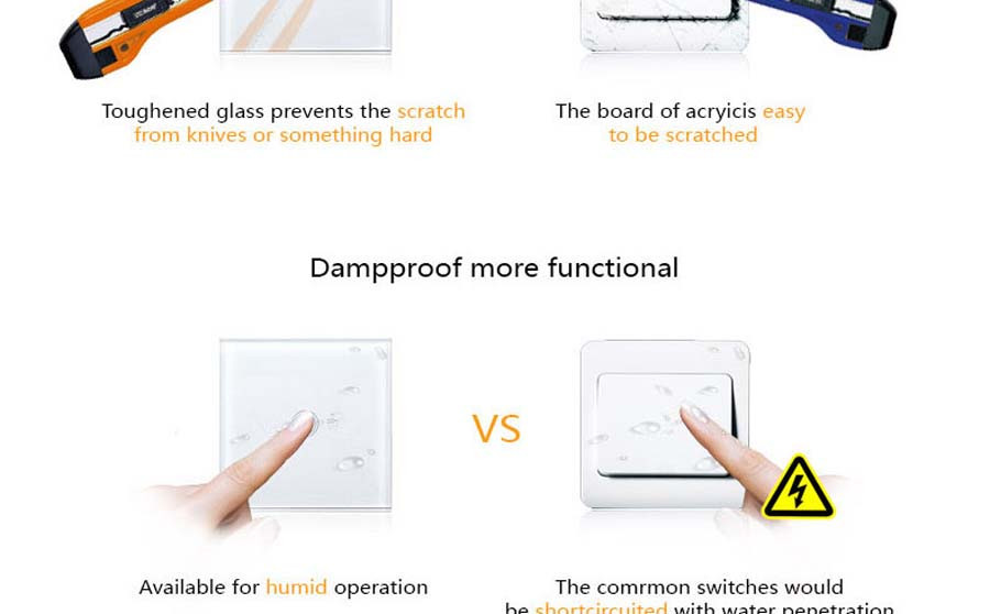 11-Touch Switch-Light Switch-Touch Switch-Wall Light Switches-Fireproof Crystal Glass Panel-Wall Mounted Switch-for Home Hotels