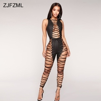 ZJFZML Cross Lace Up Eyelet PU Sexy Jumpsuit Women Black Sleeveless Skinny Bandage Rompers Summer Hollow Out Slim Club Overalls