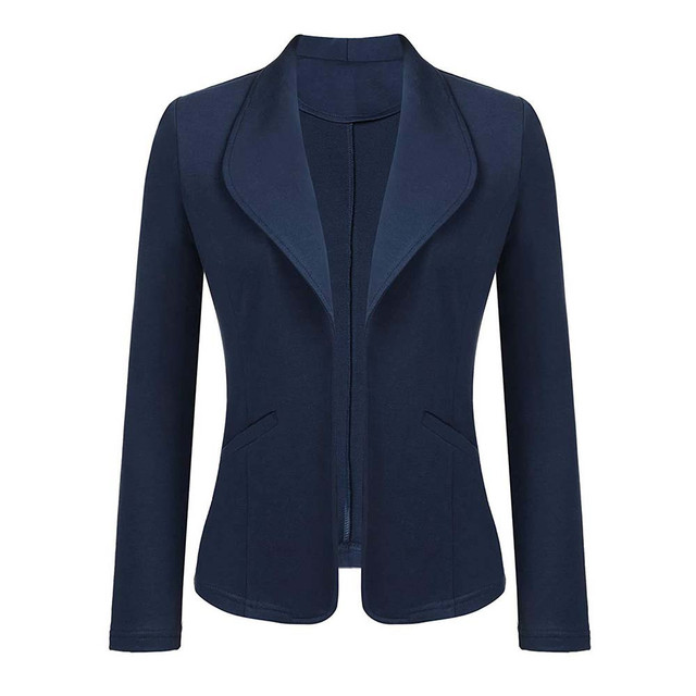 Feitong Women Blazer Jacket Fashion 2018 Women Long Sleeve Solid Cardigan None Button Elegant Work Office Slim Coat Lady Suit/PT 3