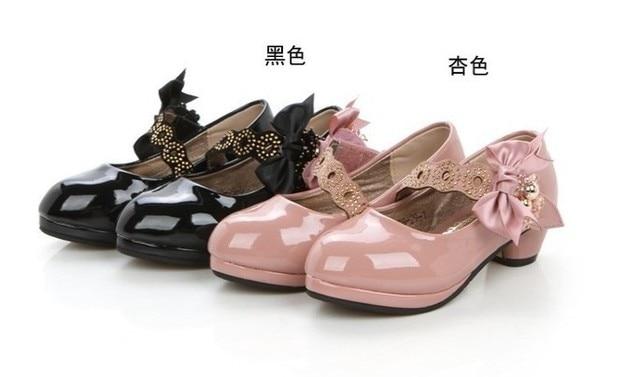 High heels shoes children bow princess dance shoes female kids