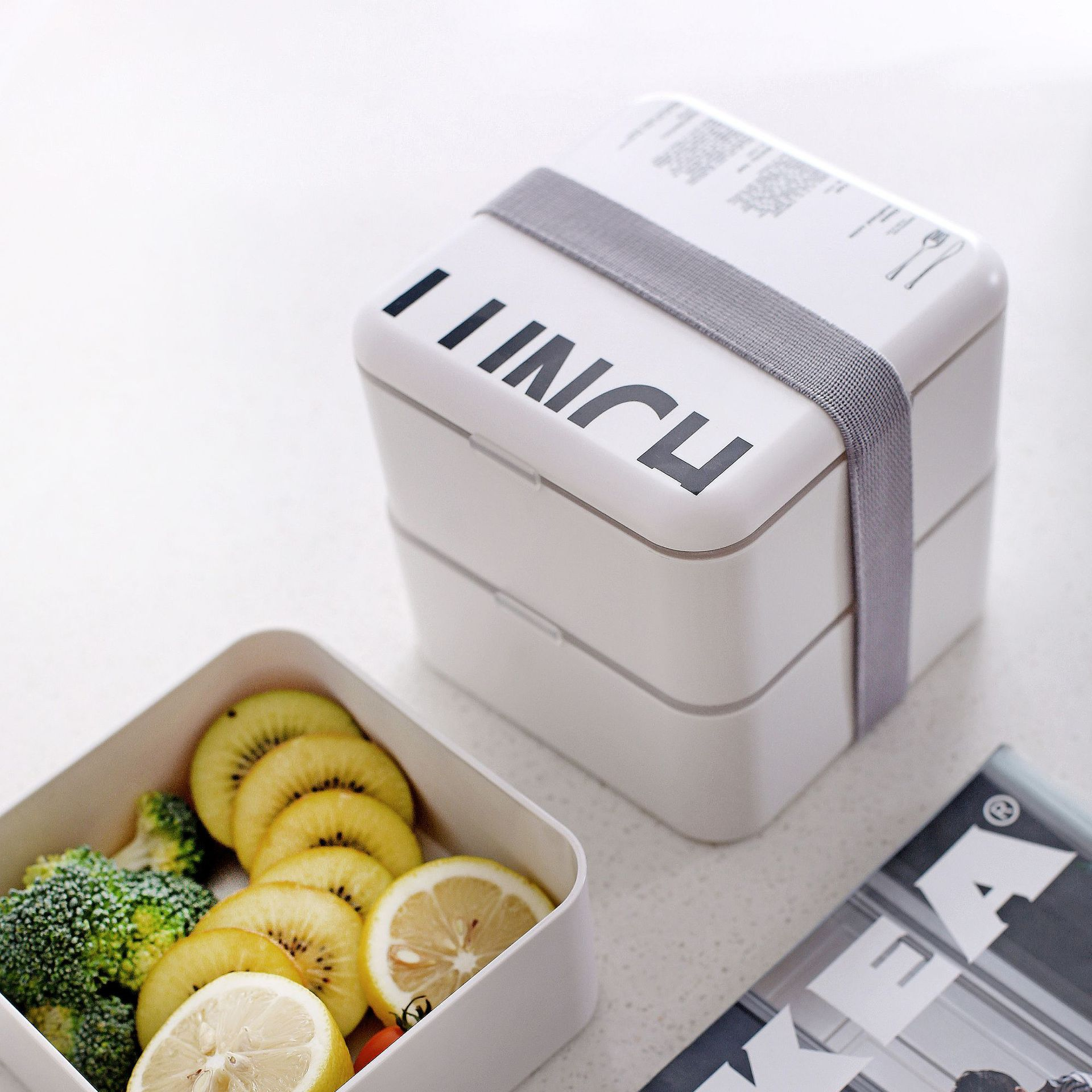 Double layered Square Lunch Box Microwavable Plastic Food Containers Portable Nordic Style Bento Box in Lunch Boxes from Home Garden