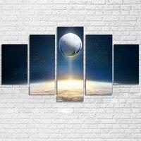 Modular da lona Poster Home Decor Modern HD Impresso 5 Peças Da Arte Da Parede Pintura Universo Espaço Planeta Destino Jogo Fotos PENGDA
