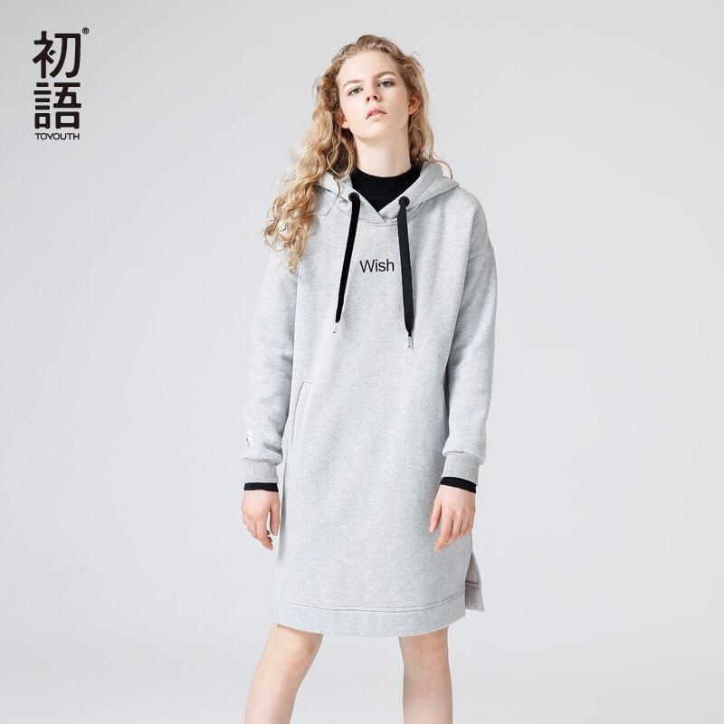 Toyouth осеннее платье Модные женские с длинным рукавом с капюшоном повседневные платья с буквенным принтом по колено платье миди карман стиль...