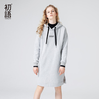 Toyouth Autumn Dress Fashion Woman Long Sleeve Hoodied Casual Dress Letter Print Knee Length Midi Dress