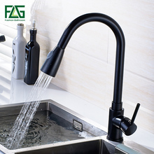 2016 pull out black kitchen faucet, Deck mounted mixer with shower, Brass  torneiras