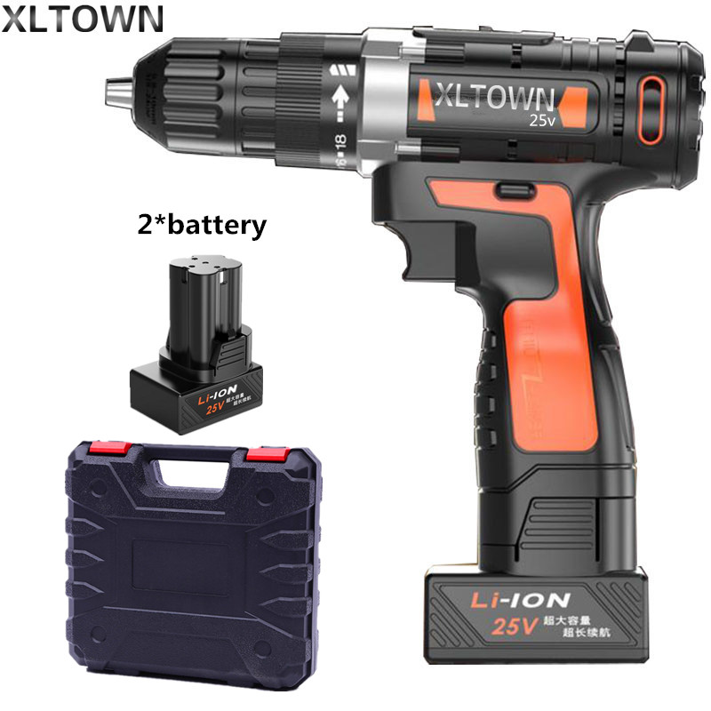 Xltown 25v two-speed lithium battery electric drill with 2 battery and a plastic box Cordless electric screwdrivers power tools xltown 25v 2000ma impact drill with bits