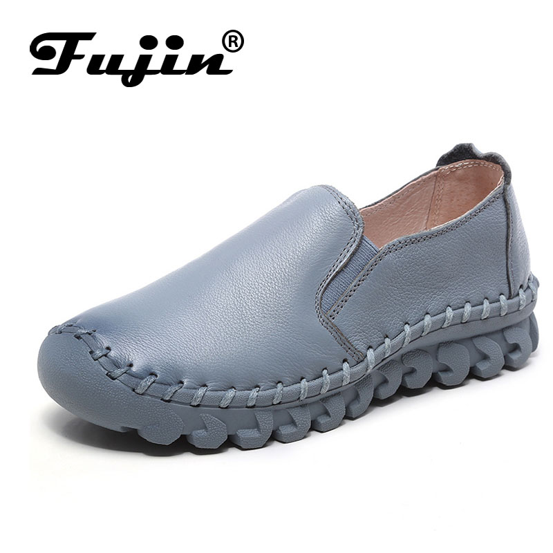 Fujin brand high quality soft women flats genuine leather lady loafers slip on women shoes summer autumn fall breathable solid relikey brand summer slip on driving shoes for men full grain leather high quality breathable moccasins soft solid men shoes