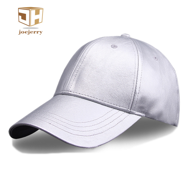 joejerry Leather Men Silver Baseball Cap Black Winter Full Cap Hat Baseball  Women Hip hop Satellite Caps New Arrival ed6807a6609