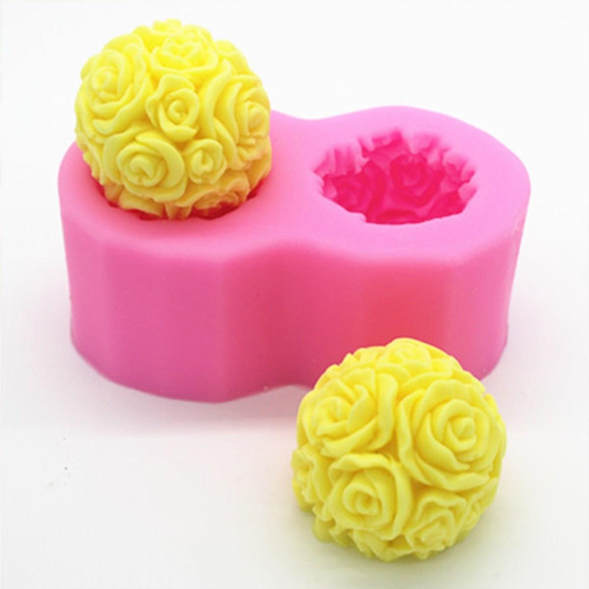 bolo de silicone em forma de molde d rose flor dupla bola decorativa vela sabo molde
