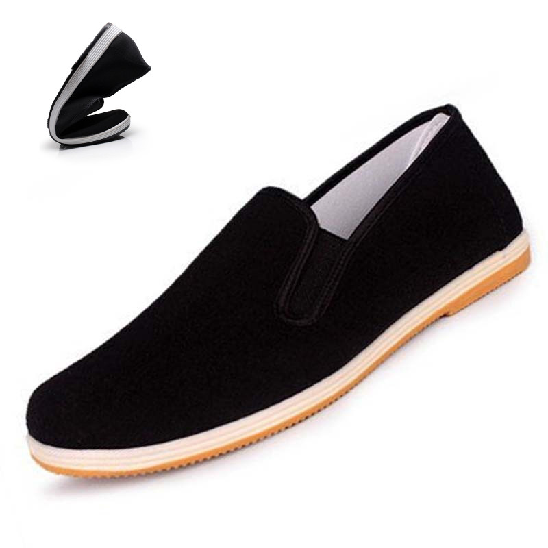 Men Canvas Loafers Sneakers Casual Shoes Flat Slip On Chinese Kongfu Style Canvas Shoes Espadrilles Unisex Size 35-45