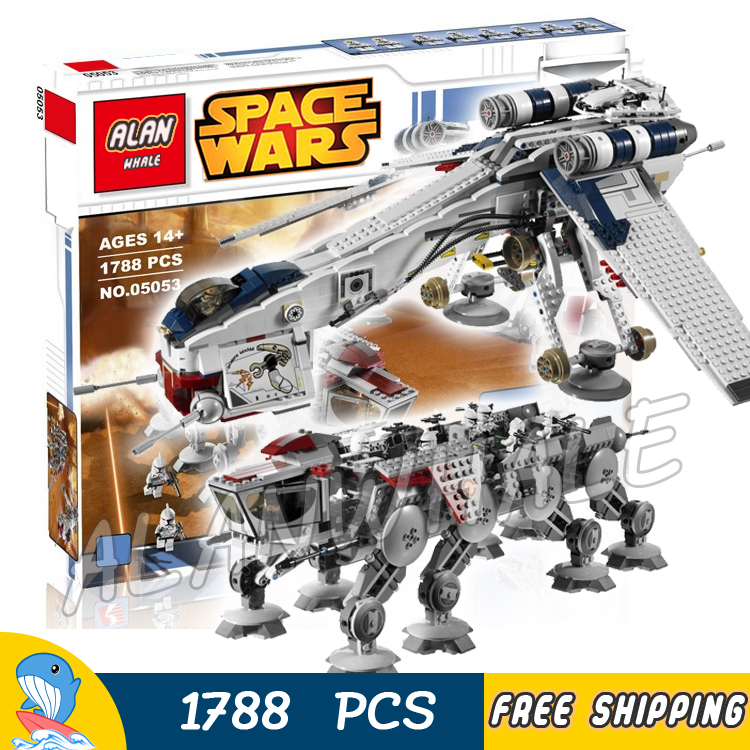 1788pcs Space Wars Republic Dropship with AT-OT Walker 05053 DIY Model Building Blocks Teenagers Toys Brick Compatible with Lego toys in space