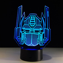 Cartoon 3D LED USB Lamp Transformers Mask Decoration Last Kniight 7 Colors Change Night Light Boy Car Toy Gift Ornament Blubing