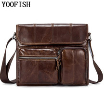 цены Genuine Leather Bag Men Bag Cowhide Men Crossbody Bags Men's Travel Shoulder Bags Briefcases Handbags   LJ-0789